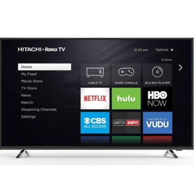 Hitachi Roku 55-inch TV 4K with HDR- TV Sizes